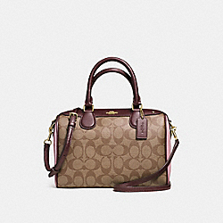 MINI BENNETT SATCHEL IN COLORBLOCK SIGNATURE - f57495 - IMITATION GOLD/KHAKI OXBLOOD MULTI