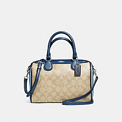 MINI BENNETT SATCHEL IN COLORBLOCK SIGNATURE - f57495 - SILVER/KHAKI/BLUE MULTI