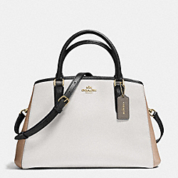 SMALL MARGOT CARRYALL IN GEOMETRIC COLORBLOCK CROSSGRAIN LEATHER - f57497 - IMITATION GOLD/CHALK FOG MULTI