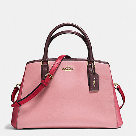 COACH f57497 SMALL MARGOT CARRYALL IN GEOMETRIC COLORBLOCK CROSSGRAIN LEATHER IMITATION GOLD/STRAWBERRY/OXBLOOD MULTI