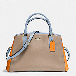 COACH SMALL MARGOT CARRYALL IN GEOMETRIC COLORBLOCK CROSSGRAIN LEATHER - IMITATION GOLD/STONE ORANGE MULTI - F57497