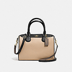 MINI BENNETT SATCHEL IN GEOMETRIC COLORBLOCK CROSSGRAIN LEATHER - f57498 - IMITATION GOLD/BEECHWOOD/CHALK MULTI