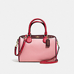 MINI BENNETT SATCHEL IN GEOMETRIC COLORBLOCK CROSSGRAIN LEATHER - f57498 - IMITATION GOLD/STRAWBERRY/OXBLOOD MULTI