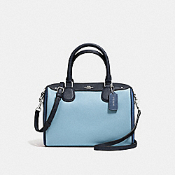 MINI BENNETT SATCHEL IN GEOMETRIC COLORBLOCK CROSSGRAIN LEATHER - f57498 - SILVER/MIDNIGHT BLUE MULTI