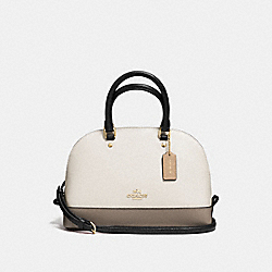 MINI SIERRA SATCHEL IN GEOMETRIC COLORBLOCK CROSSGRAIN LEATHER - f57499 - IMITATION GOLD/CHALK FOG MULTI