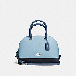 MINI SIERRA SATCHEL IN GEOMETRIC COLORBLOCK CROSSGRAIN LEATHER - f57499 - SILVER/MIDNIGHT BLUE MULTI