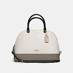 SIERRA SATCHEL IN GEOMETRIC COLORBLOCK CROSSGRAIN LEATHER - f57502 - IMITATION GOLD/CHALK FOG MULTI