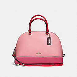 SIERRA SATCHEL IN GEOMETRIC COLORBLOCK CROSSGRAIN LEATHER - f57502 - IMITATION GOLD/STRAWBERRY/OXBLOOD MULTI