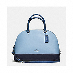 SIERRA SATCHEL IN GEOMETRIC COLORBLOCK CROSSGRAIN LEATHER - f57502 - SILVER/MIDNIGHT BLUE MULTI