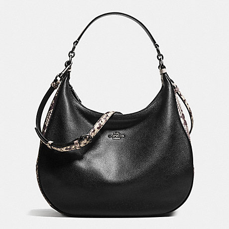 COACH HARLEY HOBO WITH SNAKE EMBOSSED LEATHER TRIM - ANTIQUE NICKEL/BLACK MULTI - f57503