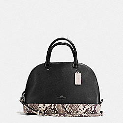 SIERRA SATCHEL WITH SNAKE EMBOSSED LEATHER TRIM - f57504 - ANTIQUE NICKEL/BLACK MULTI