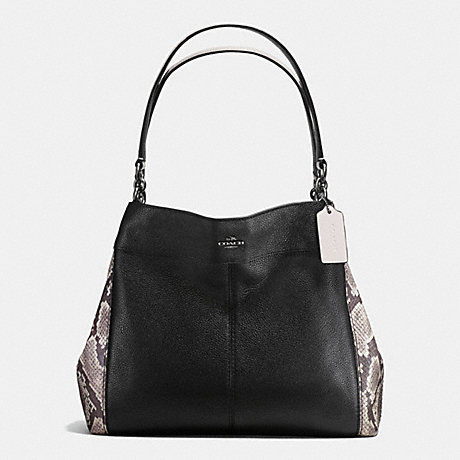 COACH f57505 LEXY SHOULDER BAG WITH SNAKE EMBOSSED LEATHER TRIM ANTIQUE NICKEL/BLACK MULTI