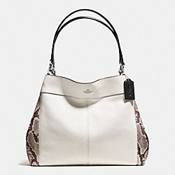 COACH LEXY SHOULDER BAG WITH SNAKE EMBOSSED LEATHER TRIM - SILVER/CHALK MULTI - F57505
