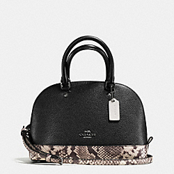 MINI SIERRA SATCHEL WITH SNAKE EMBOSSED LEATHER TRIM - f57506 - ANTIQUE NICKEL/BLACK MULTI