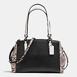 COACH SMALL CHRISTIE CARRYALL WITH SNAKE EMBOSSED LEATHER TRIM - ANTIQUE NICKEL/BLACK MULTI - F57507