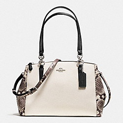 SMALL CHRISTIE CARRYALL WITH SNAKE EMBOSSED LEATHER TRIM - f57507 - SILVER/CHALK MULTI