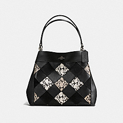 LEXY SHOULDER BAG IN SNAKE PATCHWORK LEATHER - f57509 - ANTIQUE NICKEL/BLACK MULTI