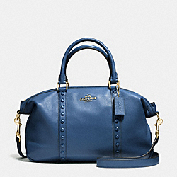 CENTRAL SATCHEL WITH ENAMEL STUD - f57513 - IMITATION GOLD/MARINA