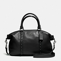 CENTRAL SATCHEL WITH ENAMEL STUD - f57513 - ANTIQUE NICKEL/BLACK