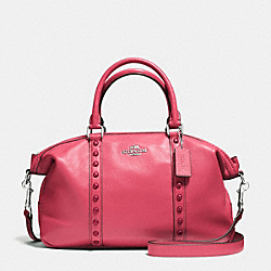CENTRAL SATCHEL WITH ENAMEL STUD - f57513 - SILVER/STRAWBERRY