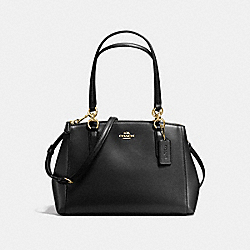 COACH SMALL CHRISTIE CARRYALL IN CROSSGRAIN LEATHER - IMITATION GOLD/BLACK - F57520