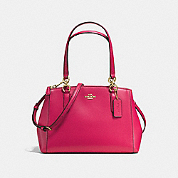 COACH SMALL CHRISTIE CARRYALL IN CROSSGRAIN LEATHER - IMITATION GOLD/BRIGHT PINK - F57520