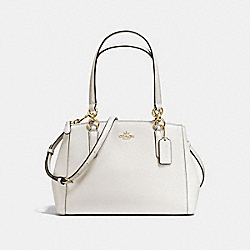 COACH SMALL CHRISTIE CARRYALL IN CROSSGRAIN LEATHER - IMITATION GOLD/CHALK - F57520