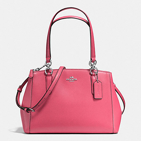 COACH f57520 SMALL CHRISTIE CARRYALL IN CROSSGRAIN LEATHER SILVER/STRAWBERRY