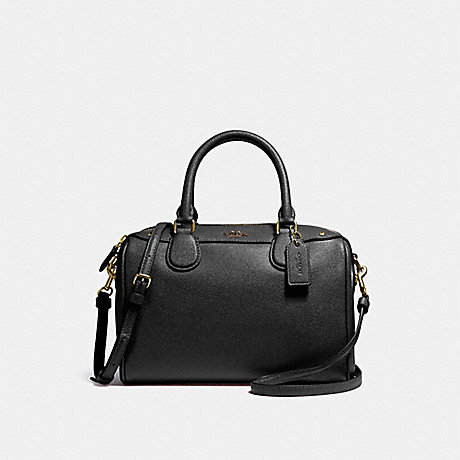 COACH MINI BENNETT SATCHEL IN CROSSGRAIN LEATHER - IMITATION GOLD/BLACK - f57521