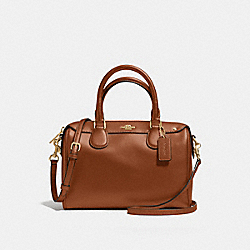COACH MINI BENNETT SATCHEL IN CROSSGRAIN LEATHER - LIGHT GOLD/SADDLE 2 - F57521