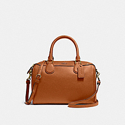 MINI BENNETT SATCHEL IN CROSSGRAIN LEATHER - f57521 - IMITATION GOLD/SADDLE