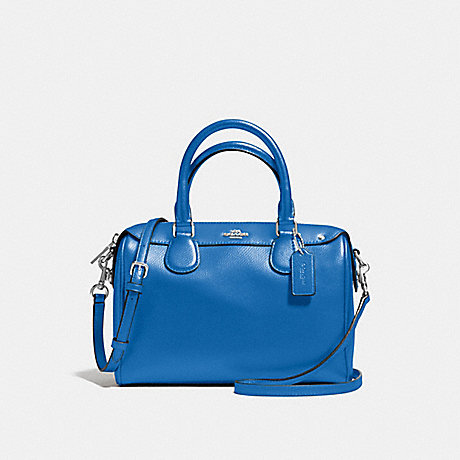 COACH MINI BENNETT SATCHEL IN CROSSGRAIN LEATHER - SILVER/LAPIS - f57521