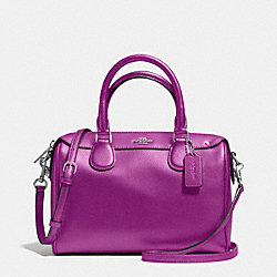 MINI BENNETT SATCHEL IN CROSSGRAIN LEATHER - f57521 - SILVER/HYACINTH