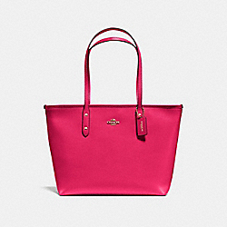 CITY ZIP TOTE IN CROSSGRAIN LEATHER - f57522 - IMITATION GOLD/BRIGHT PINK