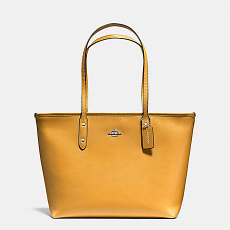 COACH f57522 CITY ZIP TOTE IN CROSSGRAIN LEATHER SILVER/MUSTARD