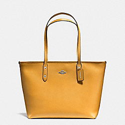 CITY ZIP TOTE IN CROSSGRAIN LEATHER - f57522 - SILVER/MUSTARD