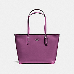 CITY ZIP TOTE IN CROSSGRAIN LEATHER - F57522 - SILVER/MAUVE
