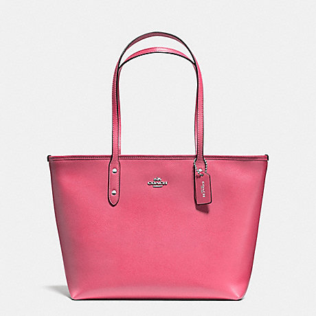 COACH f57522 CITY ZIP TOTE IN CROSSGRAIN LEATHER SILVER/STRAWBERRY