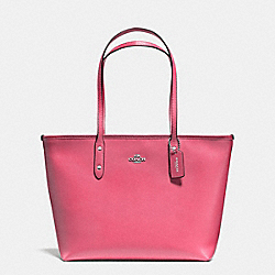 CITY ZIP TOTE IN CROSSGRAIN LEATHER - f57522 - SILVER/STRAWBERRY