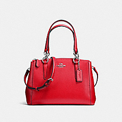 COACH MINI CHRISTIE CARRYALL IN CROSSGRAIN LEATHER - SILVER/BRIGHT RED - F57523
