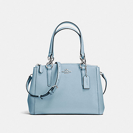 COACH f57523 MINI CHRISTIE CARRYALL IN CROSSGRAIN LEATHER SILVER/CORNFLOWER