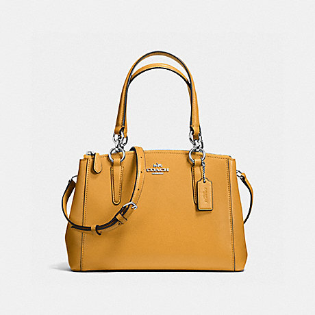 COACH f57523 MINI CHRISTIE CARRYALL IN CROSSGRAIN LEATHER SILVER/MUSTARD