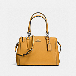 COACH MINI CHRISTIE CARRYALL IN CROSSGRAIN LEATHER - SILVER/MUSTARD - F57523