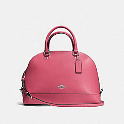 SIERRA SATCHEL IN CROSSGRAIN LEATHER - f57524 - SILVER/STRAWBERRY