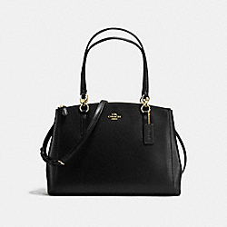 COACH CHRISTIE CARRYALL IN CROSSGRAIN LEATHER - IMITATION GOLD/BLACK - F57525
