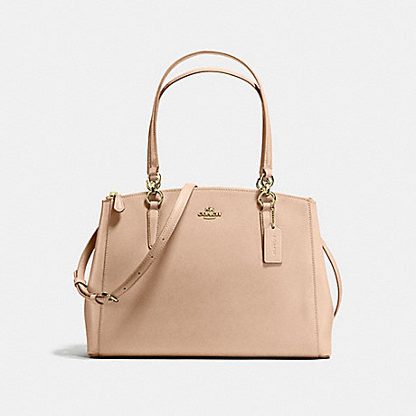 COACH CHRISTIE CARRYALL IN CROSSGRAIN LEATHER - IMITATION GOLD/BEECHWOOD - f57525