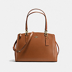 COACH CHRISTIE CARRYALL IN CROSSGRAIN LEATHER - IMITATION GOLD/SADDLE - F57525