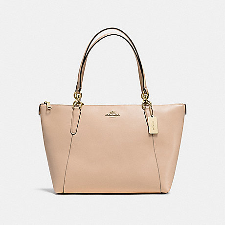 COACH f57526 AVA TOTE IN CROSSGRAIN LEATHER IMITATION GOLD/BEECHWOOD