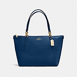 AVA TOTE IN CROSSGRAIN LEATHER - f57526 - IMITATION GOLD/MARINA