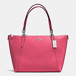 AVA TOTE IN CROSSGRAIN LEATHER - f57526 - SILVER/STRAWBERRY